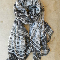 Native Rivers Scarf in Gray [3493] - $16.00 : Vintage Inspired Clothing & Affordable Fall Frocks, deloom | Modern. Vintage. Crafted.