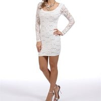 Ivory Long Sleeve Sequin Dress