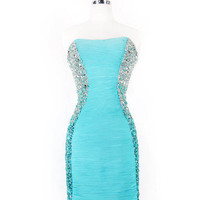 Fancy Strapless Chiffon Side Beading Sequins Ruched Short Homecoming Dress Prom