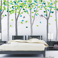 Nursery wall decal baby decal  birds wall decals tree wall decals wall sticker children wall decals office-6 Birch Tree with Colorful leaves