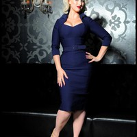 Lorelei Dress in Navy Bengaline | Pinup Girl Clothing
