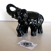 VINTAGE ELEPHANT STATUE 1960s Mid Century Brazilian Ceramic Art Pottery Elephant Figurine in Black High Gloss Finish Lucky & Exotic