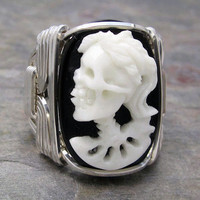 Carved Bone Lady Skull Cameo Sterling Silver Wire by kimsjewels