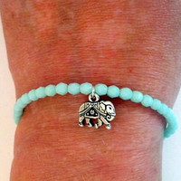 GOOD LUCK Elephant, Silver Elephant Charm Memory Wire Bracelet, Stocking Stuffer, Shabby Chic, Christmas Gift Idea, PZW064