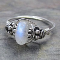 Rainbow Moonstone Rondelle Bali Sterling Silver Wire by kimsjewels