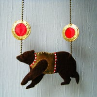 Felt &amp; Vegan Leather Necklace - Circus Bear in Brown, Gold and Red - MADE TO ORDER