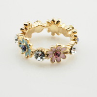 Sweet Gold Rhinestone Flower Band Ring wholesale