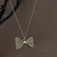 Chic Gold Plated Mesh Bow Necklace, Minimalist Jewelry, Delicate Jewelry, Vintage style Necklace