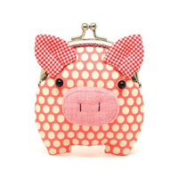Little salmon pink piggy clutch purse