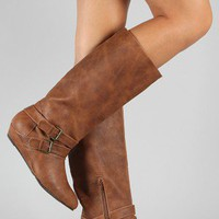 Qupid Nesha-88 Buckle Knee High Wedge Boot