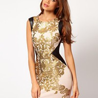 Foil Printed Bodycon Dress