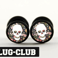 Vintage Floral Skull Fake Plugs by Plug-Club