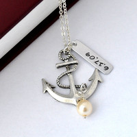 Personalized Antique Anchor Necklac.. on Luulla