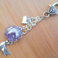 Love Dove Purple Crackle Glass Marble Romantic Keychain