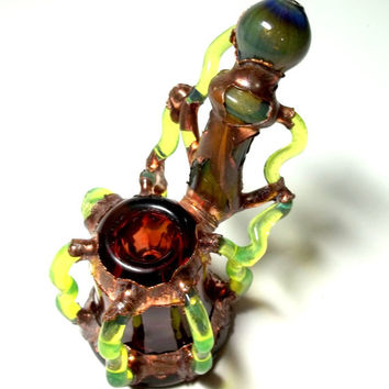 Glass Pipe, Chad G Dry Sherlock, Electroformed, Electroplated Slyme Glass PIpe, Cgge Team, OOAK, Ready for Shipping