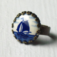 Sailboat Ring : Blue Nautical Ceramic