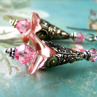 Vintage Style Earrings, Art Nouveau, Pink Flower Earrings, Silver Dangle Fancy Tibetan Silver Cones, Art Nouveau Style