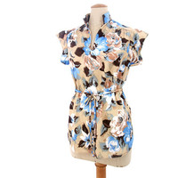 Vintage Smock Top Blouse Cap Sleeve Floral Blue Brown Beige