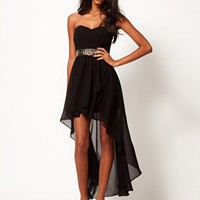 TFNC Hi Lo Bandeau Dress with Embellished Waist at asos.com