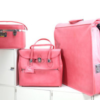 Pink Retro Ventura Train Case Wardrobe Luggage Set