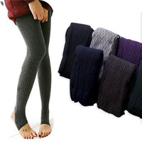 Comfortable Women&#x27;s Cotton Tights Pants Stirrup Leggings Winter Warm Knitted Hot