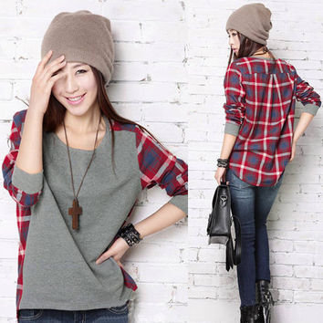 Women Long Sleeve Crew Neck Plaid Checks Print Casual Loose Top T-Shirt Blouse