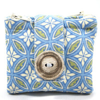 Zipper Pouch Wallet, Coin Purse, Cotton, Geometric, Blue, Green, Cream