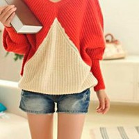 COLOR BLOCK ORANGE BEIGE OVERSIZED SWEATER