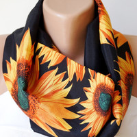 Infinity Scarf Loop Scarf Circle Scarf Cowl Scarf Soft SUNFLOWER loop  handmade from yellow, orange and  black coton linen