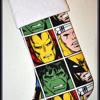 Marvel Avengers Holiday Christmas Stocking - Cotton with White Minky Cuff - Sci-Fi Geek - Handmade, Matching Lining, Ribbon