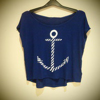 COSMIC RAY clothing  &#x27;ANCHOR&#x27; Navy Print Crop T-Shirt