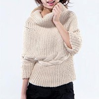 Cozy Beige Chunky Knitted Cowl Neck Cropped Sweater from Letsglamup