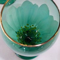 Handpainted green goblets with white daisies