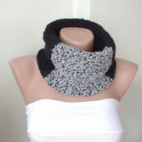 Zebra Black-Grey and White Wool Cowl with present