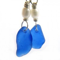 Cobalt Blue Beach Glass and White Freshwater Pearl Earrings