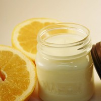 Grapefruit Scented Soy Jar Candle Mason Jar Container Candle
