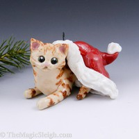 Tabby Cat Christmas Ornament Santa hat Porcelain OOAK