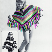 Retro Childs Striped Poncho Crochet Pattern | Los Angeles Needlework