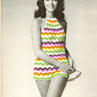 Crochet Swimsuit Vintage Pattern Ripple One Piece Bathing Suit | Los Angeles Needlework
