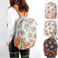New Girls Lady Fashion Vintage Cute Flower School Book Shoulder Bag Backpack
