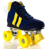 Retro Roller Skates : Blazer Blue / Yellow Roller Skates @ Rawk