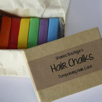 Rainbow Colored Hair Chalks - 6 Pack - Temporary Color Pastels, Red, Green, Yellow, Blue, Purple and Orange