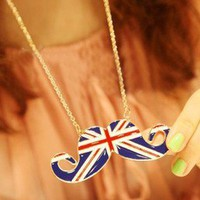 Top Fashion British Flag Cute Jewelry Girl Mustache Shaped Pendant Necklace
