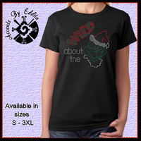 Rhinestone Wild About the Grinch with Santa Hat T Womens Shirt or Tank sizes S - 3XL Bah Humbug