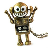 Retro robot pendant necklace