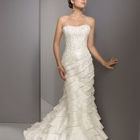 Elegant Mermaid Strapless Court Train Sleeveless Satin Wedding Dress-$368.99-ReliableTrustStore.com