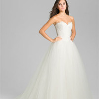 Theia Strapless Lace &amp; Tulle Ballgown | Nordstrom