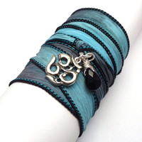 Silk Ribbon Wrap Bracelet with Om Charmyoga by charmeddesign1012