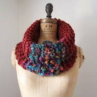 Bohemian knit cowl Rust Teal Purple by Happiknits on Etsy