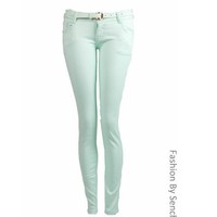 NEW LADIES LOW RISE COLOURED PASTEL MINT BLUE PINK KHAKI SKINNY JEANS SIZE 6-14